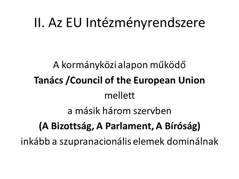 II. Az EU Intézményrendszere A kormányközi alapon működő Tanács /Council of the European Union mellett a másik három szervben (A Bizottság, A Parlamen