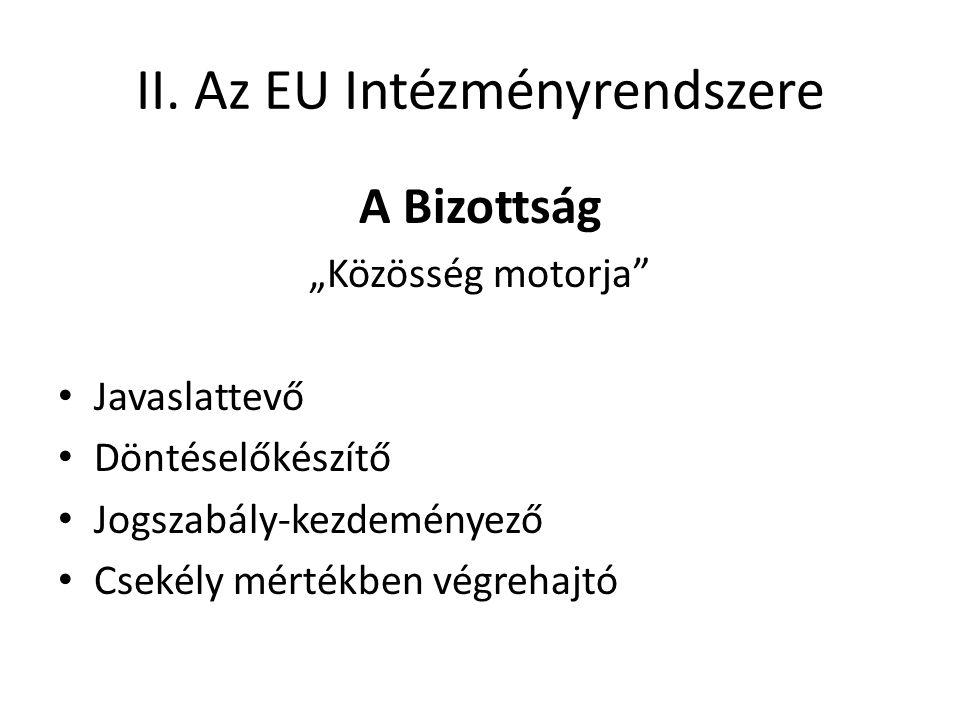"""II. Az EU Intézményrendszere A Bizottság """"Közösség motorja"""" • Javaslattevő • Döntéselőkészítő • Jogszabály-kezdeményező • Csekély mértékben végrehajtó"""