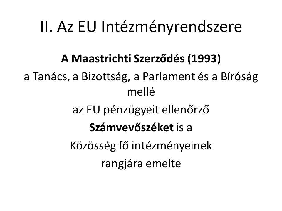 II. Az EU Intézményrendszere A Maastrichti Szerződés (1993) a Tanács, a Bizottság, a Parlament és a Bíróság mellé az EU pénzügyeit ellenőrző Számvevős