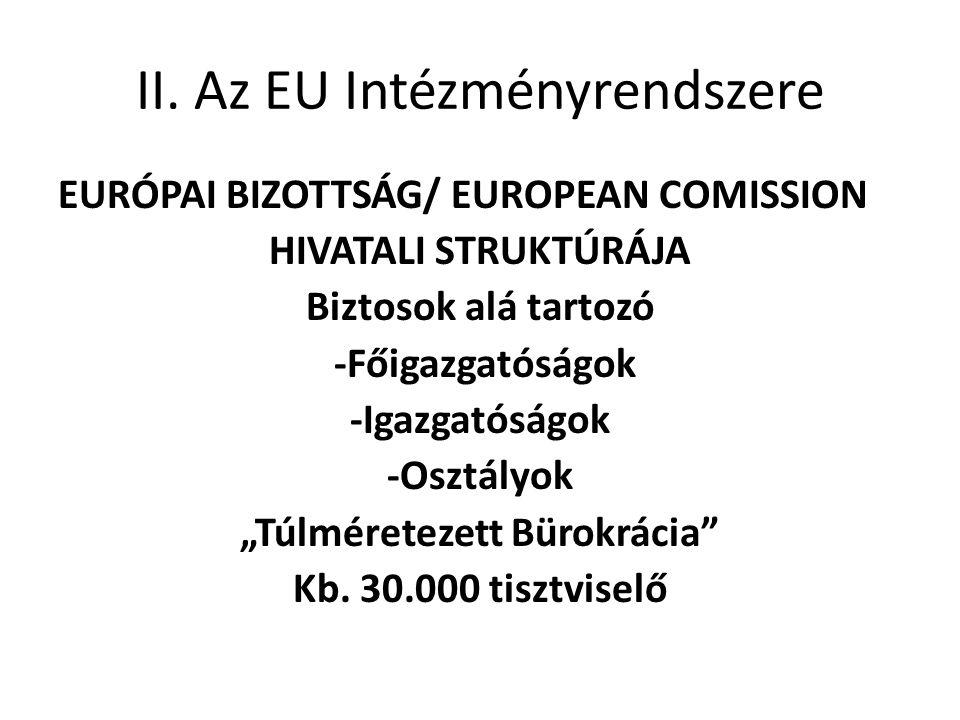 II. Az EU Intézményrendszere EURÓPAI BIZOTTSÁG/ EUROPEAN COMISSION HIVATALI STRUKTÚRÁJA Biztosok alá tartozó -Főigazgatóságok -Igazgatóságok -Osztályo