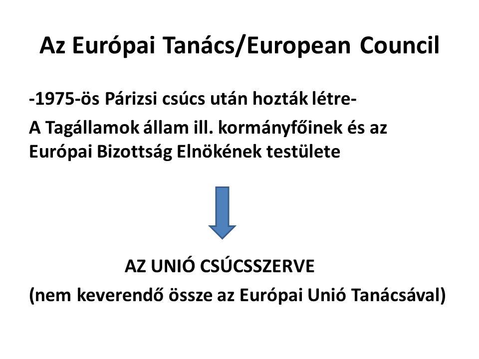 Az Európai Tanács/European Council -1975-ös Párizsi csúcs után hozták létre- A Tagállamok állam ill. kormányfőinek és az Európai Bizottság Elnökének t