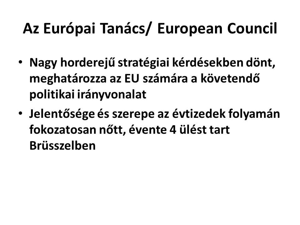 Az Európai Tanács/ European Council • Nagy horderejű stratégiai kérdésekben dönt, meghatározza az EU számára a követendő politikai irányvonalat • Jele