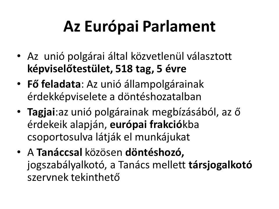 Az Európai Parlament • Az unió polgárai által közvetlenül választott képviselőtestület, 518 tag, 5 évre • Fő feladata: Az unió állampolgárainak érdekk
