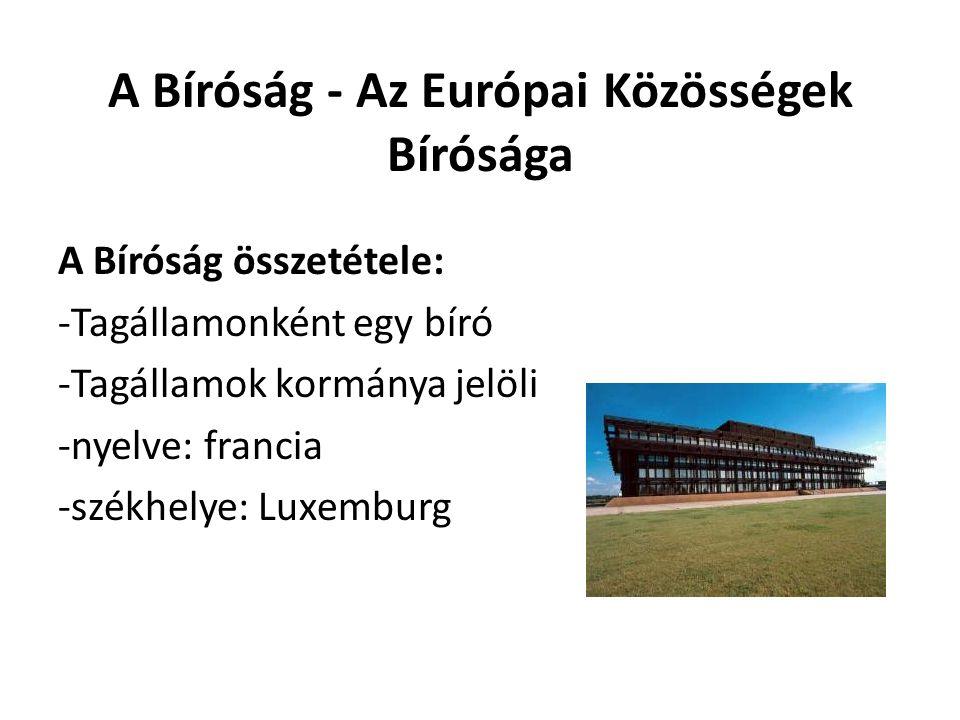 A Bíróság - Az Európai Közösségek Bírósága A Bíróság összetétele: -Tagállamonként egy bíró -Tagállamok kormánya jelöli -nyelve: francia -székhelye: Lu