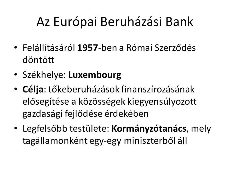 Az Európai Beruházási Bank • Felállításáról 1957-ben a Római Szerződés döntött • Székhelye: Luxembourg • Célja: tőkeberuházások finanszírozásának elős