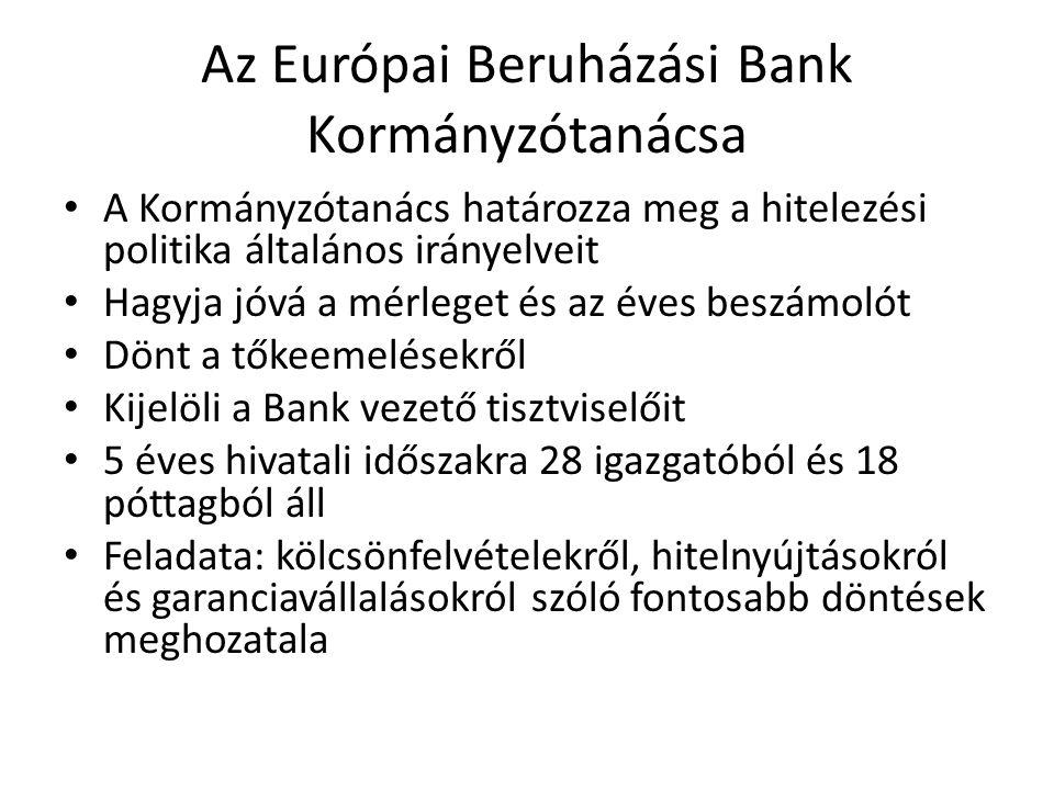 Az Európai Beruházási Bank Kormányzótanácsa • A Kormányzótanács határozza meg a hitelezési politika általános irányelveit • Hagyja jóvá a mérleget és