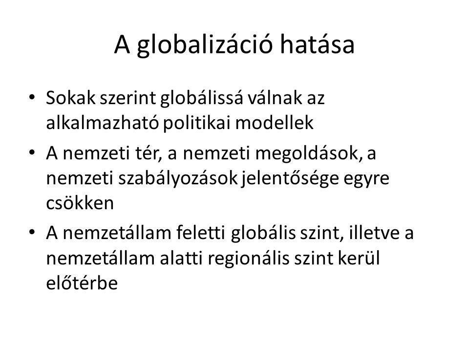 A globalizáció hatása • Sokak szerint globálissá válnak az alkalmazható politikai modellek • A nemzeti tér, a nemzeti megoldások, a nemzeti szabályozá