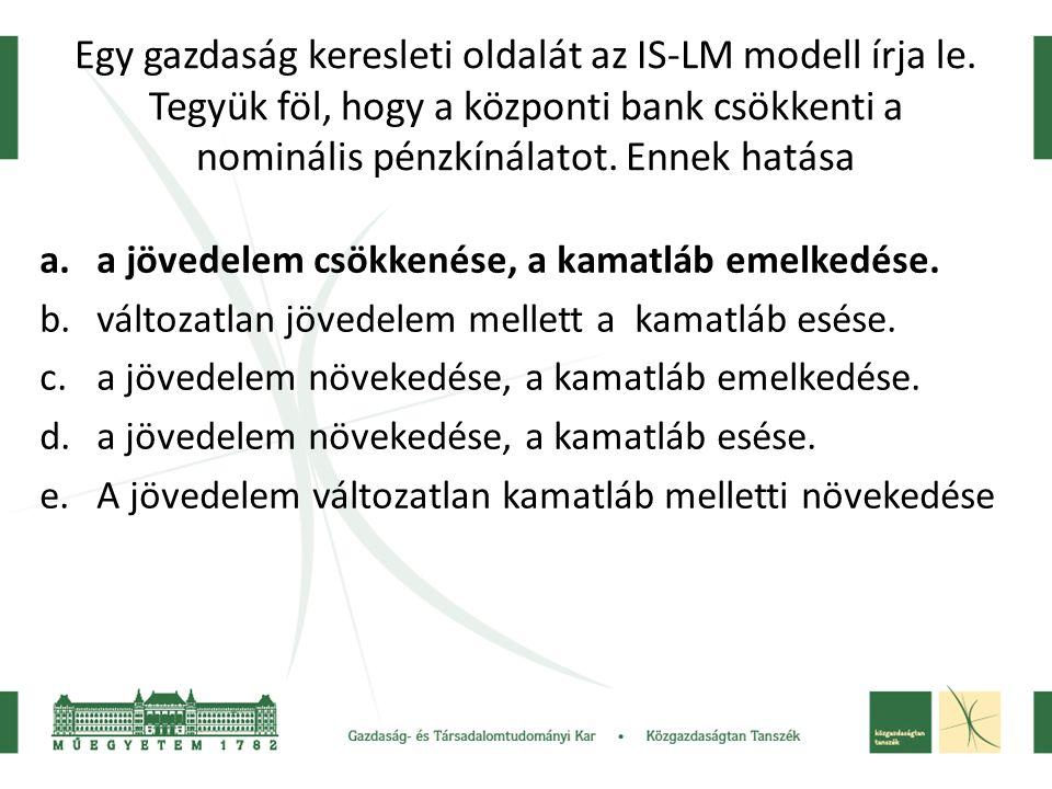 Egy gazdaság keresleti oldalát az IS-LM modell írja le. Tegyük föl, hogy a központi bank csökkenti a nominális pénzkínálatot. Ennek hatása a.a jövedel