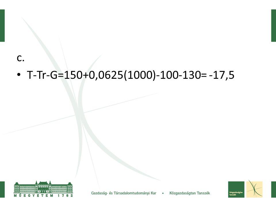 c. • T-Tr-G=150+0,0625(1000)-100-130= -17,5