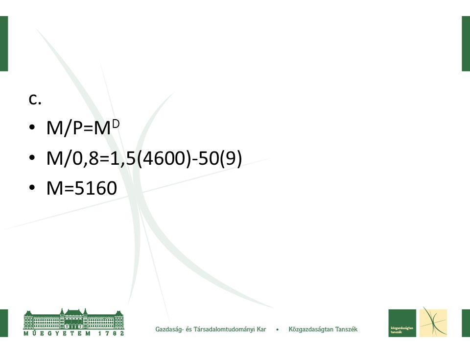 c. • M/P=M D • M/0,8=1,5(4600)-50(9) • M=5160