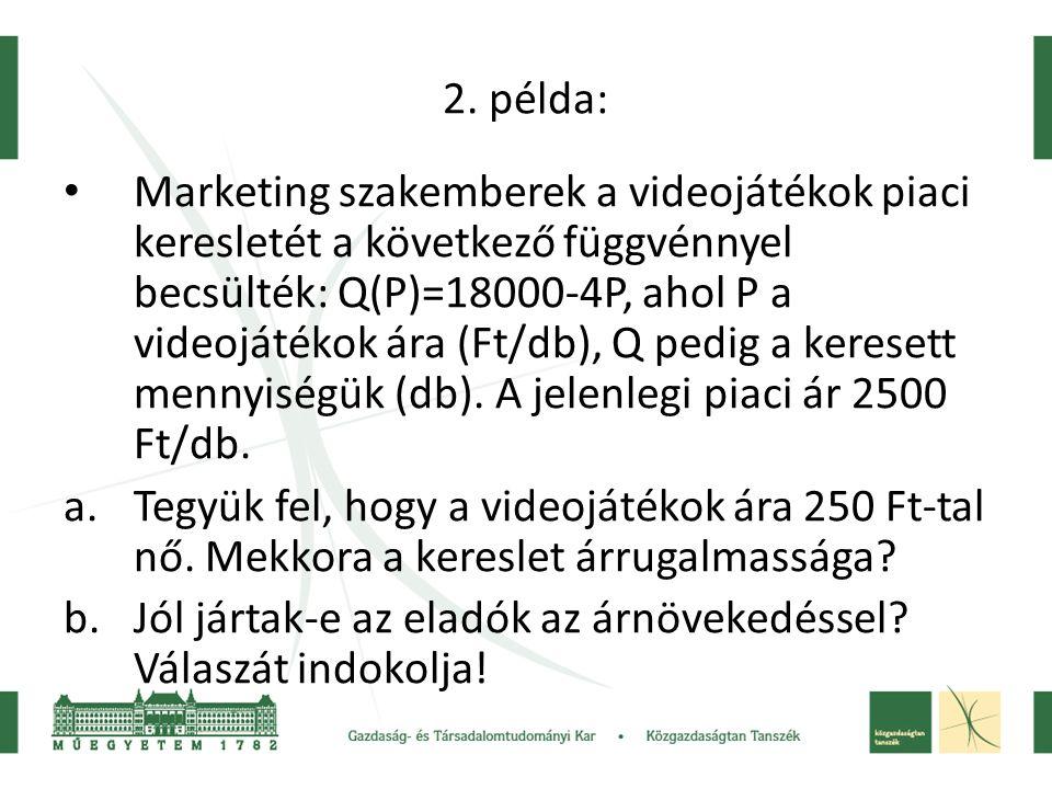 2. példa: • Marketing szakemberek a videojátékok piaci keresletét a következő függvénnyel becsülték: Q(P)=18000-4P, ahol P a videojátékok ára (Ft/db),