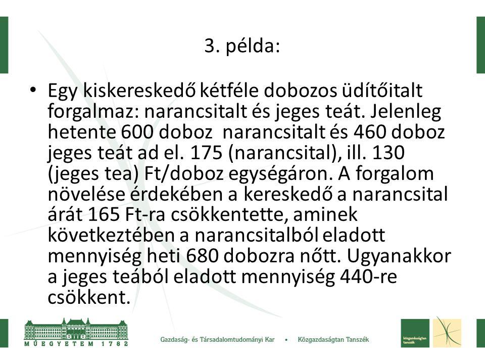 3. példa: • Egy kiskereskedő kétféle dobozos üdítőitalt forgalmaz: narancsitalt és jeges teát. Jelenleg hetente 600 doboz narancsitalt és 460 doboz je