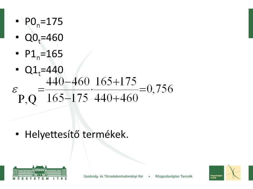 • P0 n =175 • Q0 t =460 • P1 n =165 • Q1 t =440 • Helyettesítő termékek.