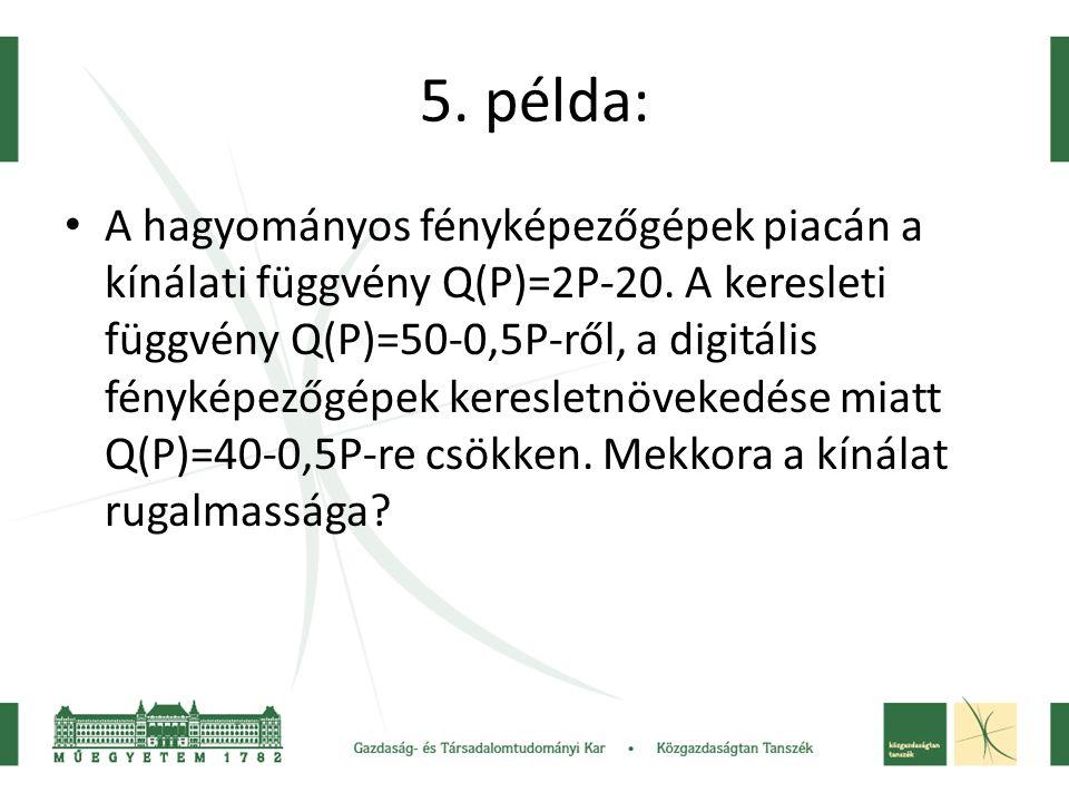 5. példa: • A hagyományos fényképezőgépek piacán a kínálati függvény Q(P)=2P-20. A keresleti függvény Q(P)=50-0,5P-ről, a digitális fényképezőgépek ke