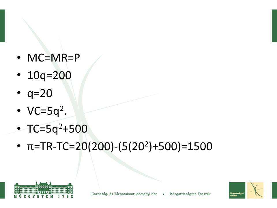 • MC=MR=P • 10q=200 • q=20 • VC=5q 2. • TC=5q 2 +500 • π=TR-TC=20(200)-(5(20 2 )+500)=1500