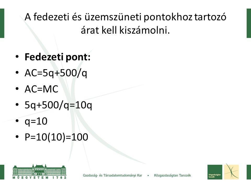 A fedezeti és üzemszüneti pontokhoz tartozó árat kell kiszámolni. • Fedezeti pont: • AC=5q+500/q • AC=MC • 5q+500/q=10q • q=10 • P=10(10)=100