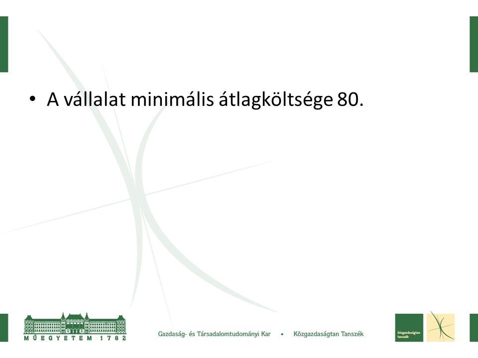 • A vállalat minimális átlagköltsége 80.