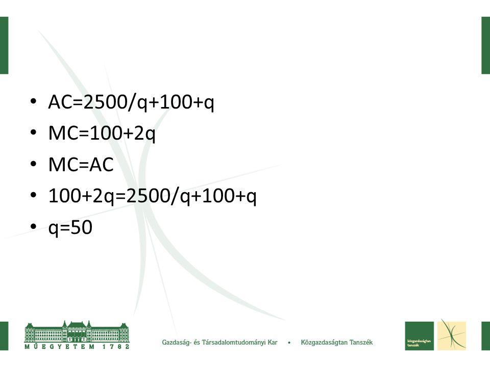 • AC=2500/q+100+q • MC=100+2q • MC=AC • 100+2q=2500/q+100+q • q=50