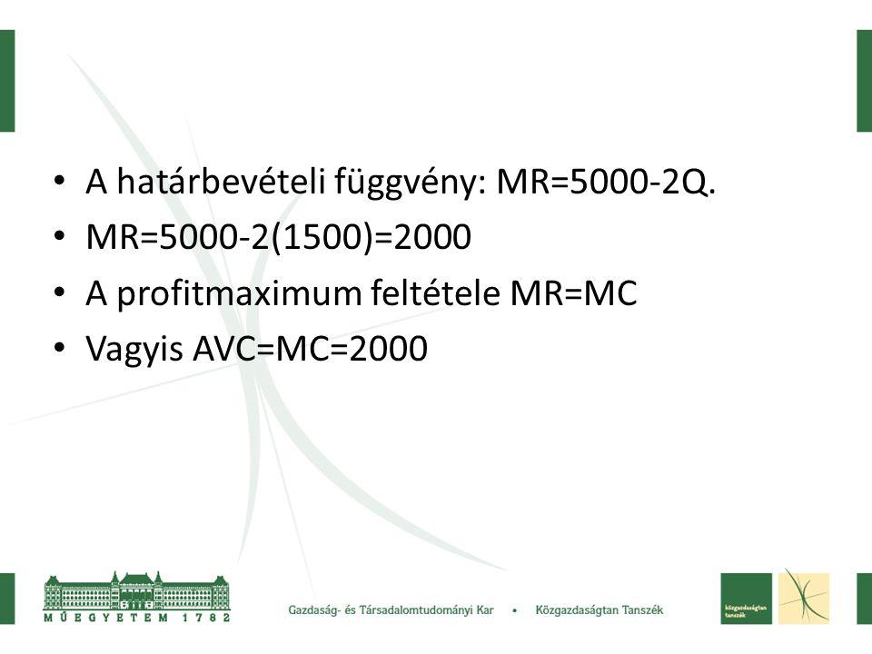 • A határbevételi függvény: MR=5000-2Q. • MR=5000-2(1500)=2000 • A profitmaximum feltétele MR=MC • Vagyis AVC=MC=2000