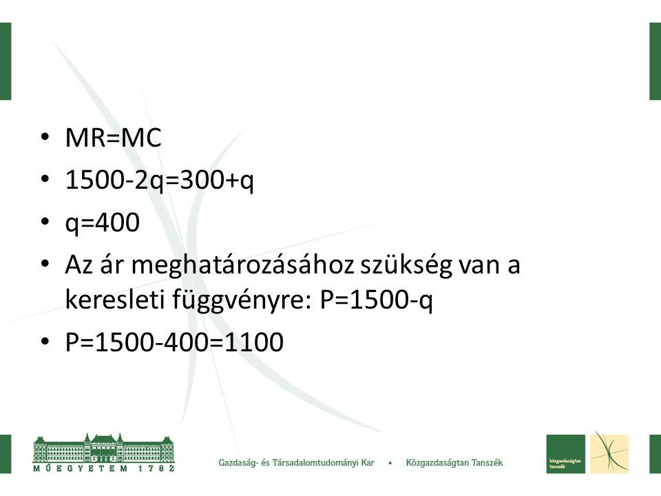 • MR=MC • 1500-2q=300+q • q=400 • Az ár meghatározásához szükség van a keresleti függvényre: P=1500-q • P=1500-400=1100