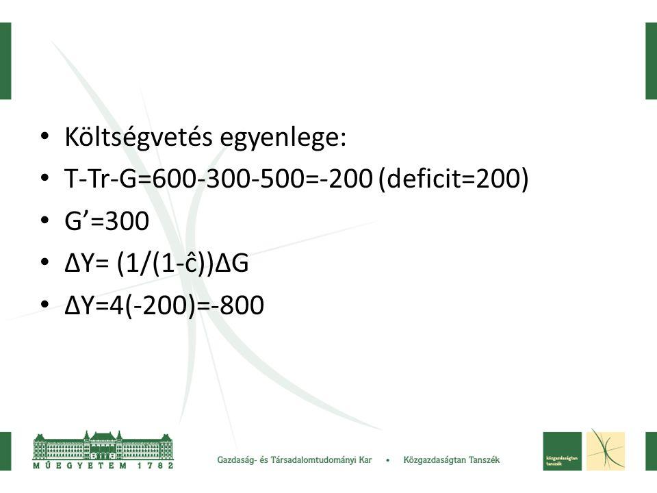 • Költségvetés egyenlege: • T-Tr-G=600-300-500=-200 (deficit=200) • G'=300 • ΔY= (1/(1-ĉ))ΔG • ΔY=4(-200)=-800