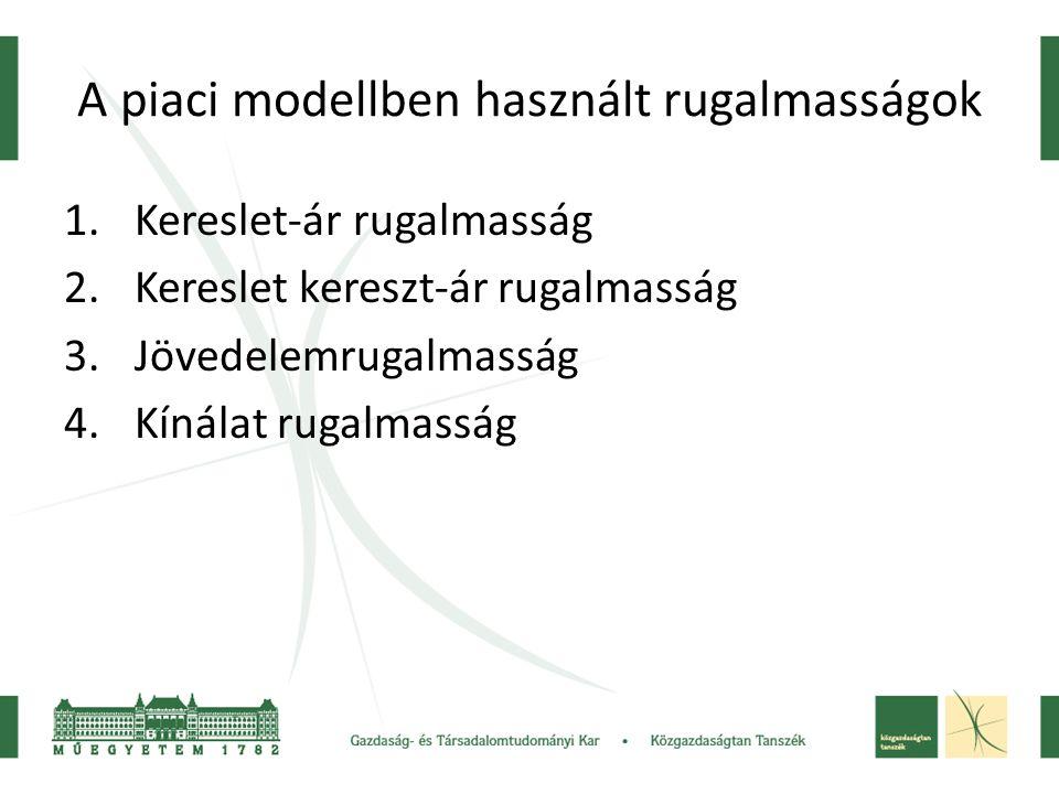A piaci modellben használt rugalmasságok 1.Kereslet-ár rugalmasság 2.Kereslet kereszt-ár rugalmasság 3.Jövedelemrugalmasság 4.Kínálat rugalmasság