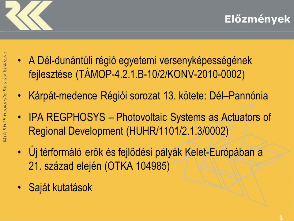 MTA KRTK Regionális Kutatások Intézete Előzmények •A Dél-dunántúli régió egyetemi versenyképességének fejlesztése (TÁMOP-4.2.1.B-10/2/KONV-2010-0002) •Kárpát-medence Régiói sorozat 13.