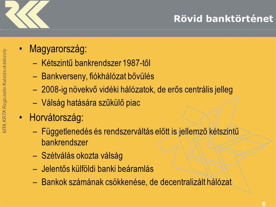 MTA KRTK Regionális Kutatások Intézete Rövid banktörténet •Magyarország: –Kétszintű bankrendszer 1987-től –Bankverseny, fiókhálózat bővülés –2008-ig növekvő vidéki hálózatok, de erős centrális jelleg –Válság hatására szűkülő piac •Horvátország: –Függetlenedés és rendszerváltás előtt is jellemző kétszintű bankrendszer –Szétválás okozta válság –Jelentős külföldi banki beáramlás –Bankok számának csökkenése, de decentralizált hálózat 6