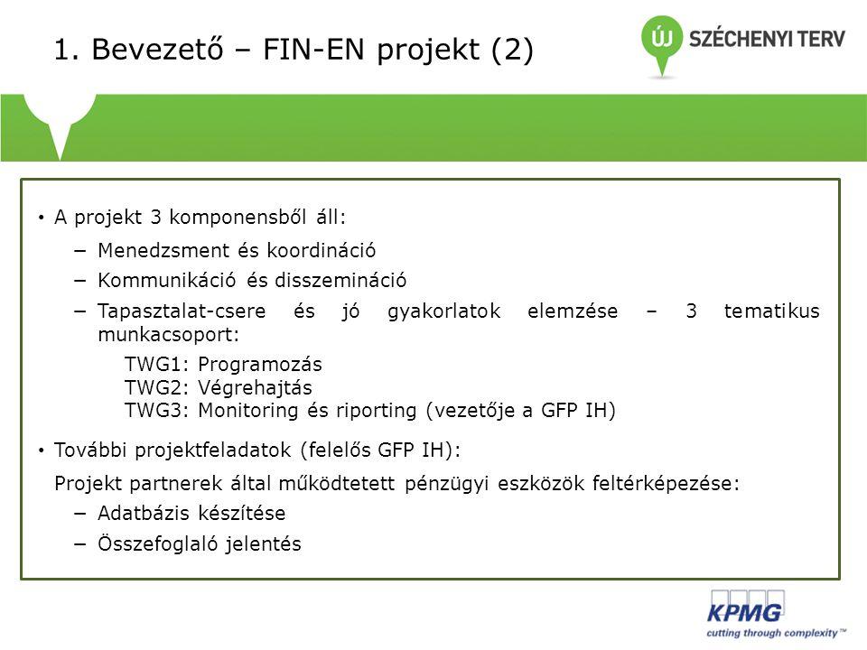 • A projekt 3 komponensből áll: −Menedzsment és koordináció −Kommunikáció és disszemináció −Tapasztalat-csere és jó gyakorlatok elemzése – 3 tematikus munkacsoport: TWG1: Programozás TWG2: Végrehajtás TWG3: Monitoring és riporting (vezetője a GFP IH) • További projektfeladatok (felelős GFP IH): Projekt partnerek által működtetett pénzügyi eszközök feltérképezése: −Adatbázis készítése −Összefoglaló jelentés 1.