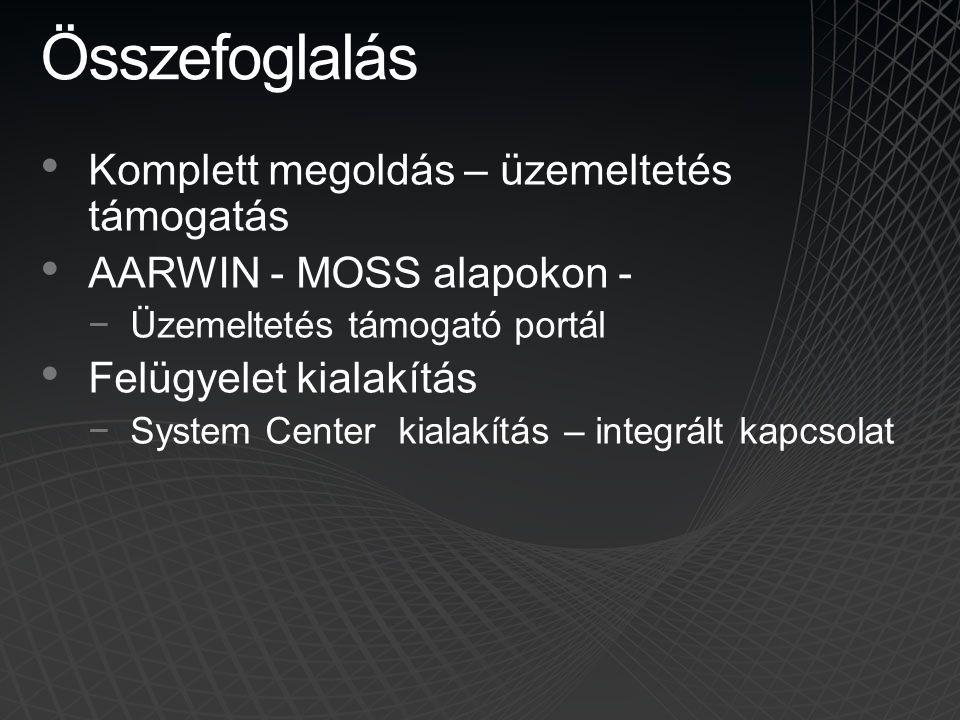 Összefoglalás • Komplett megoldás – üzemeltetés támogatás • AARWIN - MOSS alapokon - −Üzemeltetés támogató portál • Felügyelet kialakítás −System Cent