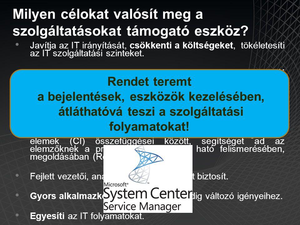 • Javítja az IT irányítását, csökkenti a költségeket, tökéletesíti az IT szolgáltatási szinteket. • Növeli az IT hatékonyságát, ezáltal növeli a felha
