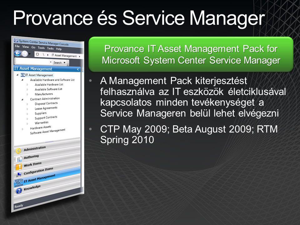 Provance és Service Manager •A Management Pack kiterjesztést felhasználva az IT eszközök életciklusával kapcsolatos minden tevékenységet a Service Man