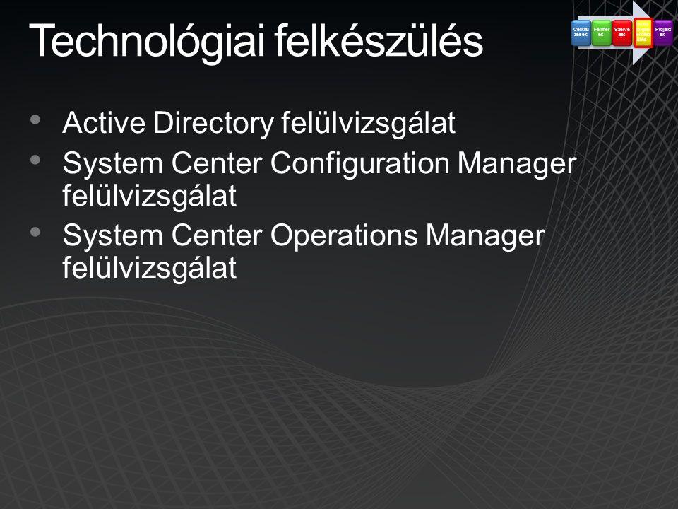 Technológiai felkészülés • Active Directory felülvizsgálat • System Center Configuration Manager felülvizsgálat • System Center Operations Manager fel