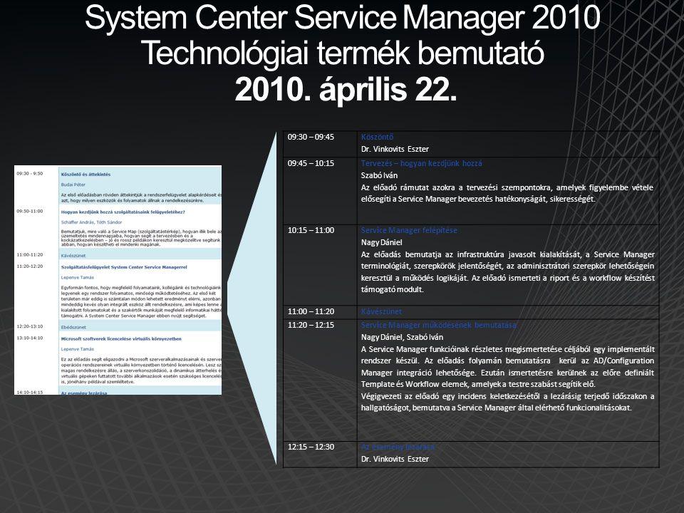 System Center Service Manager 2010 Technológiai termék bemutató 2010. április 22. 09:30 – 09:45 Köszöntő Dr. Vinkovits Eszter 09:45 – 10:15 Tervezés –