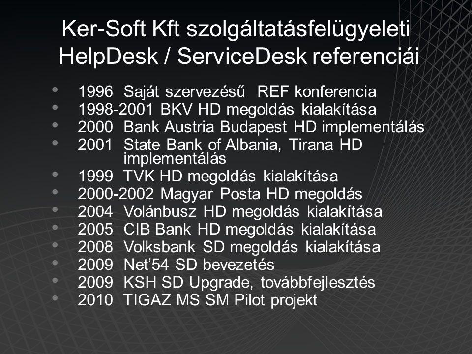 • 1996 Saját szervezésű REF konferencia • 1998-2001 BKV HD megoldás kialakítása • 2000 Bank Austria Budapest HD implementálás • 2001 State Bank of Alb