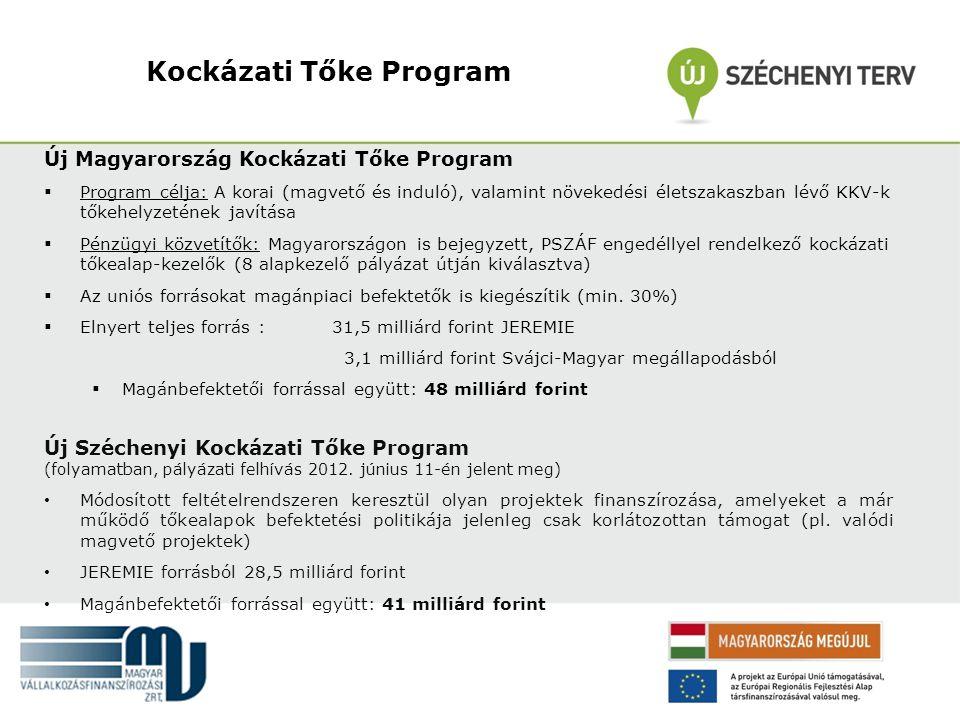 Kockázati Tőke Program Új Magyarország Kockázati Tőke Program  Program célja: A korai (magvető és induló), valamint növekedési életszakaszban lévő KK