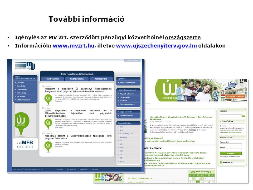  Igénylés az MV Zrt. szerződött pénzügyi közvetítőinél országszerte  Információk: www.mvzrt.hu, illetve www.ujszechenyiterv.gov.hu oldalakonwww.mvzr