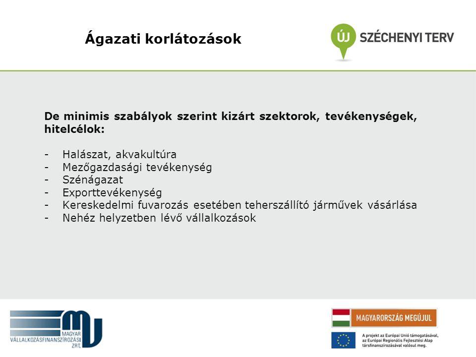 Ágazati korlátozások De minimis szabályok szerint kizárt szektorok, tevékenységek, hitelcélok: - Halászat, akvakultúra - Mezőgazdasági tevékenység - S