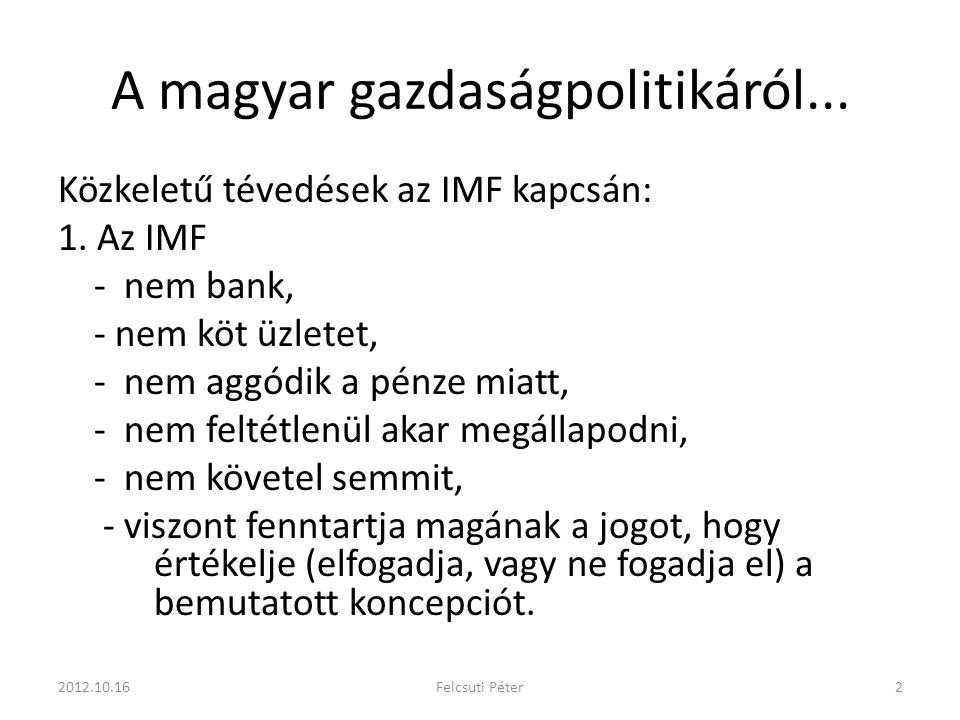 A magyar gazdaságpolitikáról... Közkeletű tévedések az IMF kapcsán: 1.