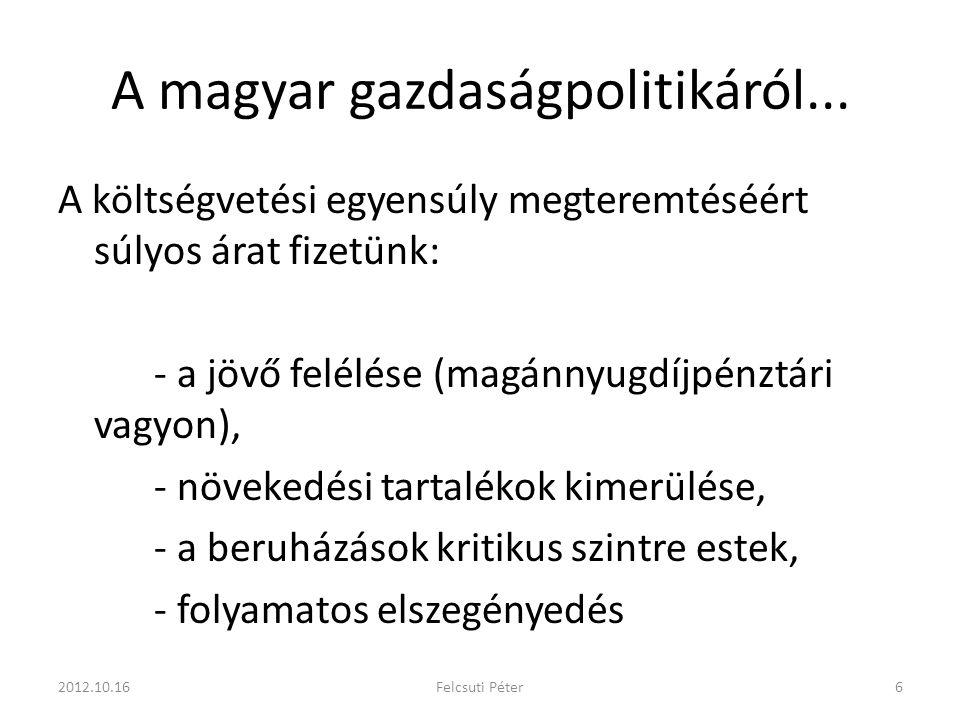 A magyar gazdaságpolitikáról...