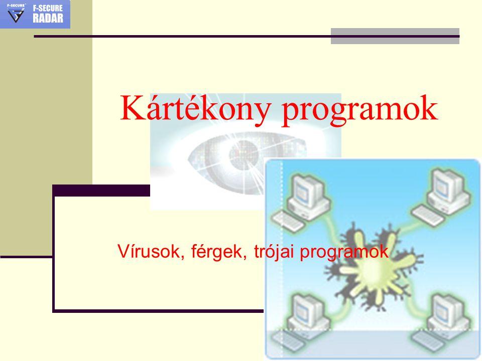 Kártékony programok Vírusok, férgek, trójai programok