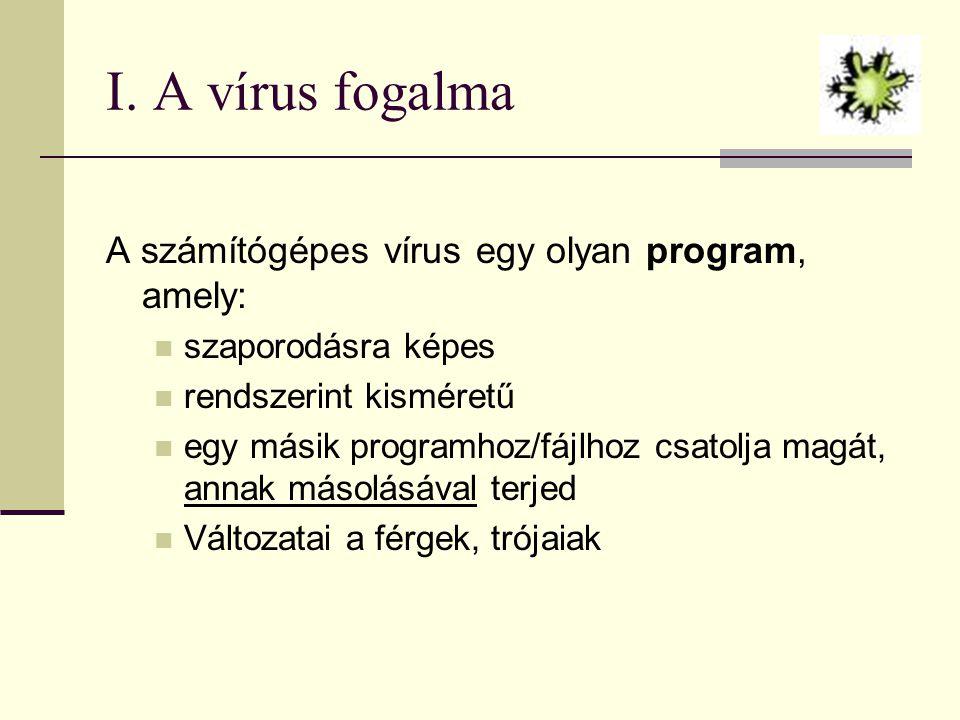 I. A vírus fogalma A számítógépes vírus egy olyan program, amely:  szaporodásra képes  rendszerint kisméretű  egy másik programhoz/fájlhoz csatolja