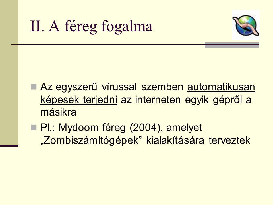 II. A féreg fogalma  Az egyszerű vírussal szemben automatikusan képesek terjedni az interneten egyik gépről a másikra  Pl.: Mydoom féreg (2004), ame