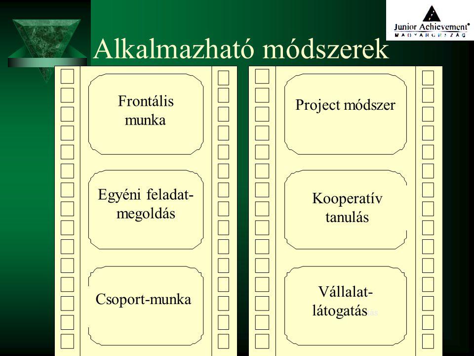 29 Alkalmazható módszerek Frontális munka Egyéni feladat- megoldás Csoport-munka Project módszer Kooperatív tanulás Vállalat- látogatás tás