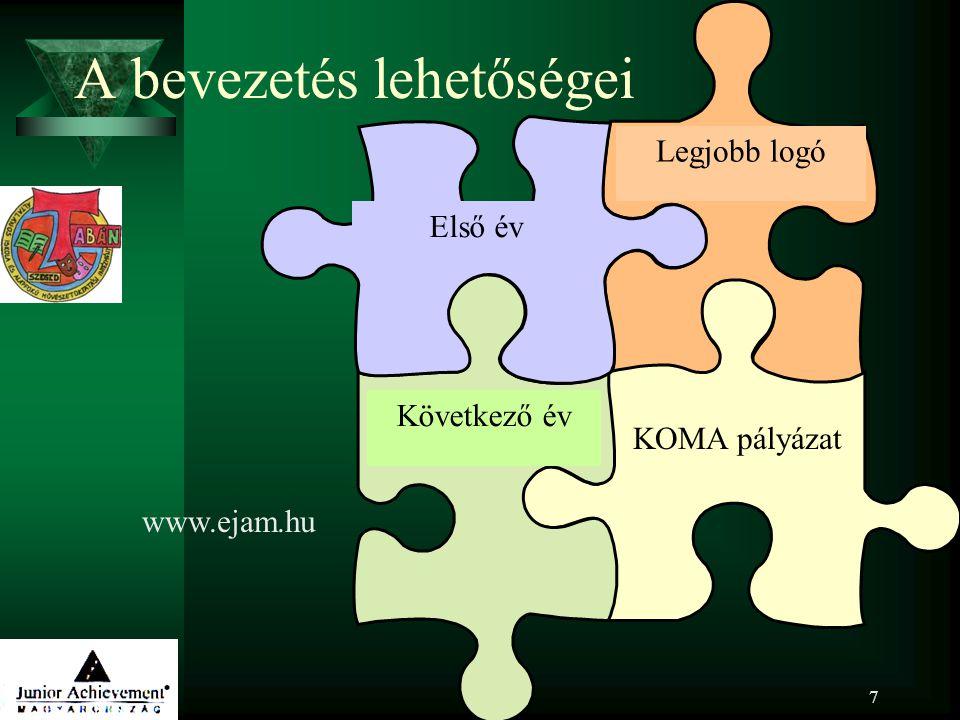 7 A bevezetés lehetőségei Első év Legjobb logó Következő év KOMA pályázat www.ejam.hu