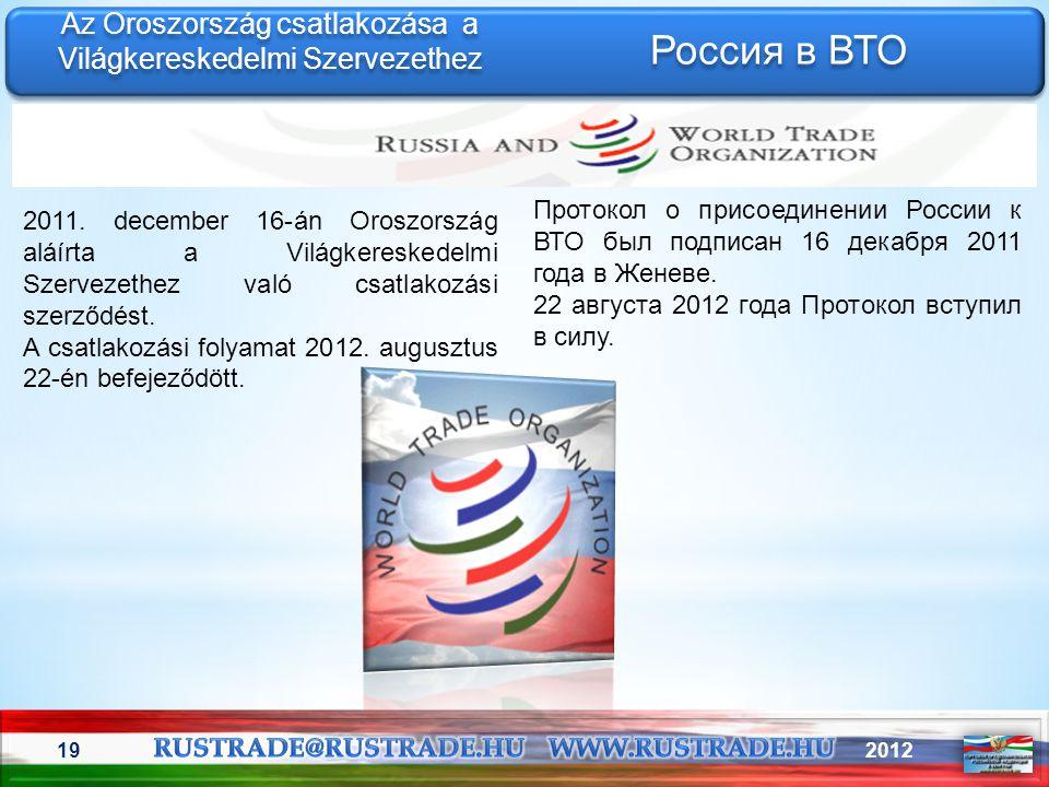 201219 Az Oroszország csatlakozása a Világkereskedelmi Szervezethez Протокол о присоединении России к ВТО был подписан 16 декабря 2011 года в Женеве.