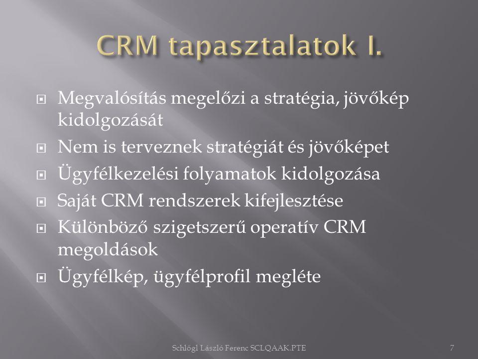  Megvalósítás megelőzi a stratégia, jövőkép kidolgozását  Nem is terveznek stratégiát és jövőképet  Ügyfélkezelési folyamatok kidolgozása  Saját CRM rendszerek kifejlesztése  Különböző szigetszerű operatív CRM megoldások  Ügyfélkép, ügyfélprofil megléte Schlőgl László Ferenc SCLQAAK.PTE7