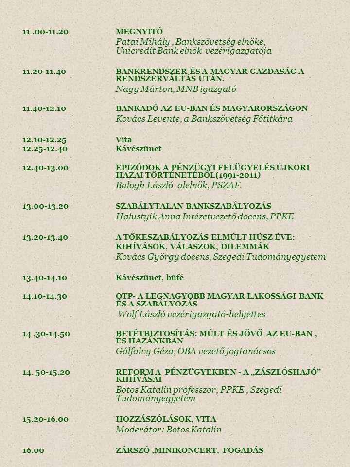 11.00-11.20 MEGNYITÓ Patai Mihály, Bankszövetség elnöke, Unicredit Bank elnök-vezérigazgatója 11.20-11.40BANKRENDSZER ÉS A MAGYAR GAZDASÁG A RENDSZERVÁLTÁS UTÁN.
