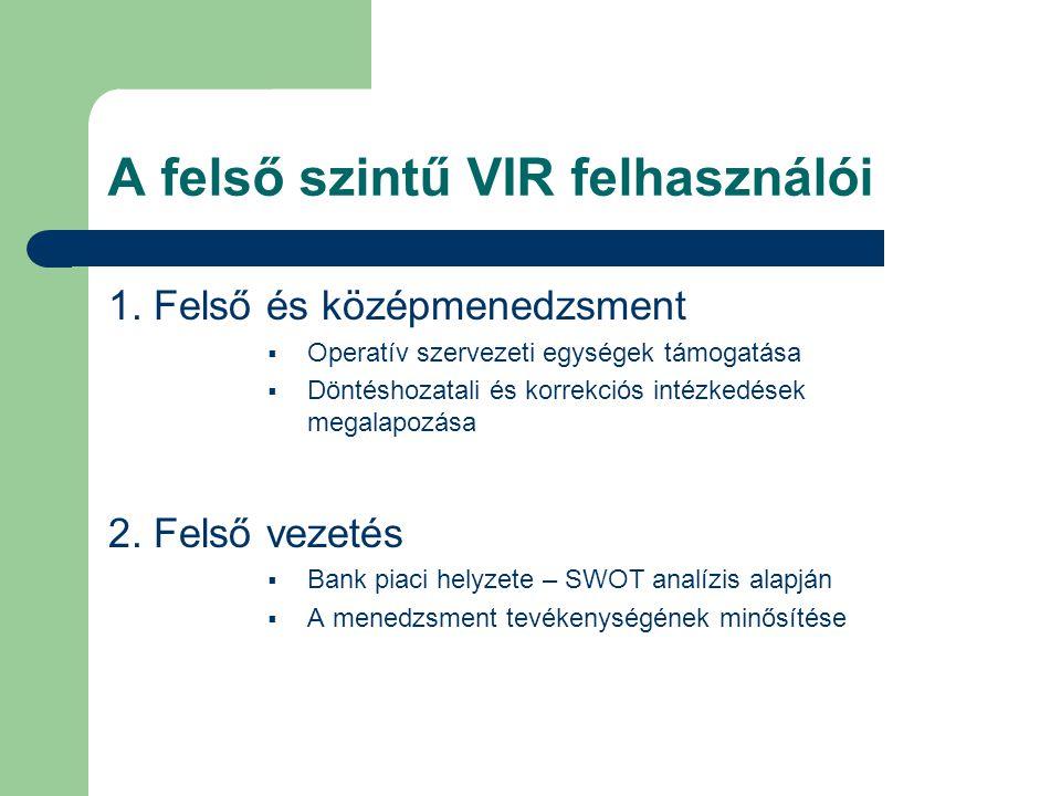 A felső szintű VIR felhasználói 1. Felső és középmenedzsment  Operatív szervezeti egységek támogatása  Döntéshozatali és korrekciós intézkedések meg