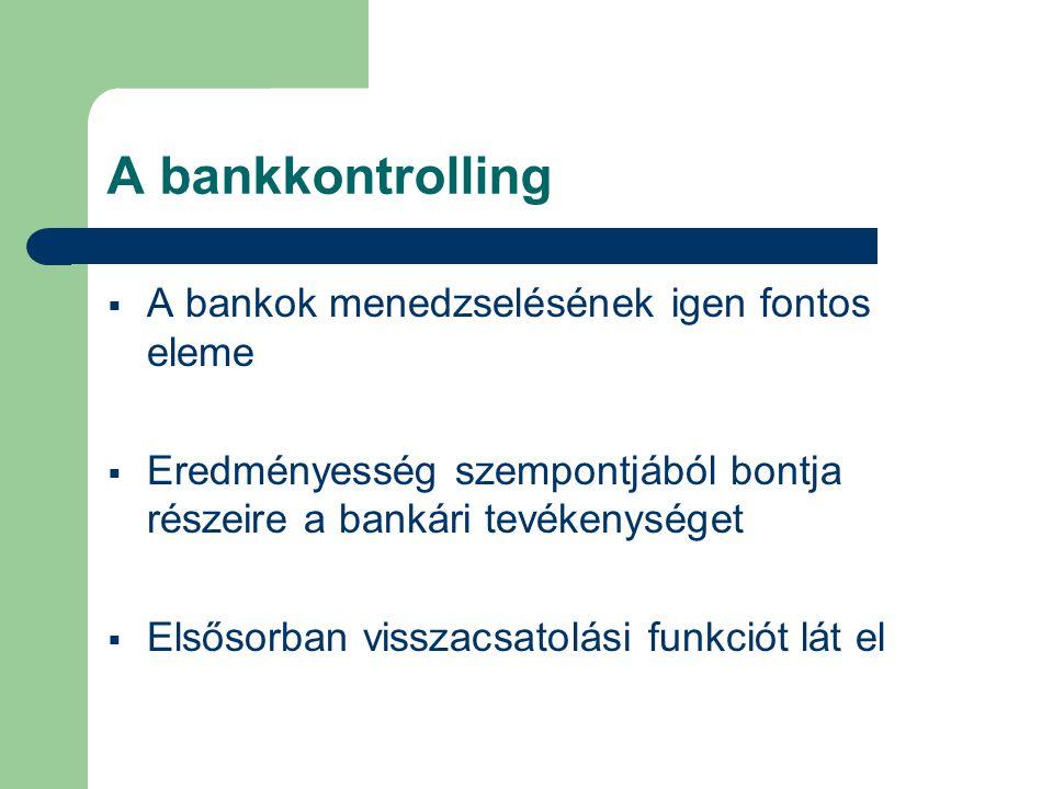 A bankkontrolling szervezete  Tevékenysége az üzleti bankok központi és hálózati egységeire egyaránt kiterjed  Fontos: a szervezet hatókörének megállapítása  Feladata:  egységes irányítási, mérési és információs módszerek kidolgozása  a különböző szintű kontrollingtevékenységek egybehangolása